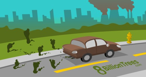 A graphic image with energy plants releasing smoke in the background and a car with smoke in the shape of footprints being released from the tailpipe. The footprint of the smoke symbolizes that vehicle emissions leave a lasting carbon footprint on the environment.