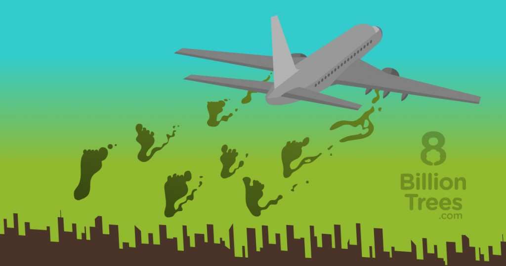 """A graphic image with an 8 Billion Trees logo at the bottom showing a plane flying above a city with smoke in the shape of """"carbon footprints(total greenhouse imprint someone or something creates)"""" being released from jet engines."""