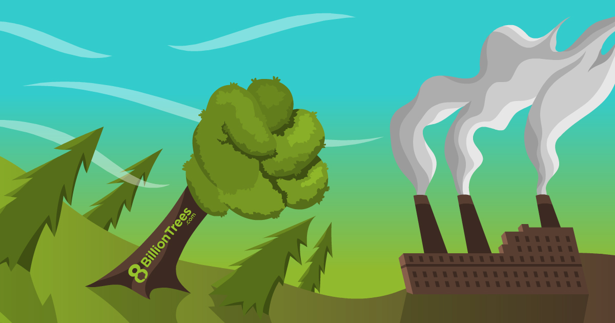 A tree's branches or canopy is in the shape of a fist and is punching or flighting smoke(greenhouse gas emissions) released from a factory. The image symbolizes that forestry projects and other types of carbon offsets can fight or mitigate greenhouse gases (GHG) emissions and climate change all at once.