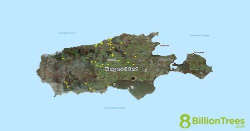 A map showing planting locations on Kangaroo Island Australia