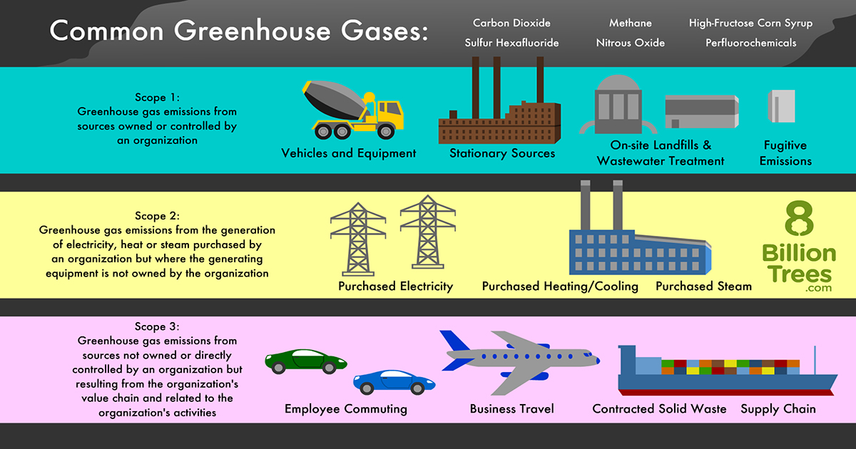 8 Billion Trees graphic image displaying three categories(types) of common greenhouse gases from left to right carbon dioxide, methane, nitrous oxide with emission sources listed from top to bottom emissions by organizations, emissions generated by electricity, and emissions by value chain and other activities