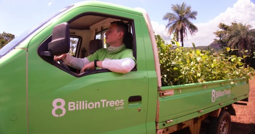 8 Billion Trees Founder Jon Chambers driving a truck of indigenous saplings to a planting site.