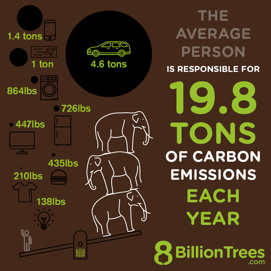 8 Billion Trees Brand Image (typographic digital visual) of carbon emissions measured in tons listing 8 categories (types) of carbon producing activities using image of a scale with elephants on the right side and carbon activities on the left side of scale from bottom to top; light bulb, cloths, food, television, refrigerator, washer, plane, and cell phone all produce 19.8 tons of carbon emissions each year by the average person