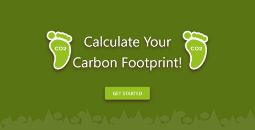 Graphic image of 8 Billion Trees carbon footprint calculator with silhouette of trees at the bottom.