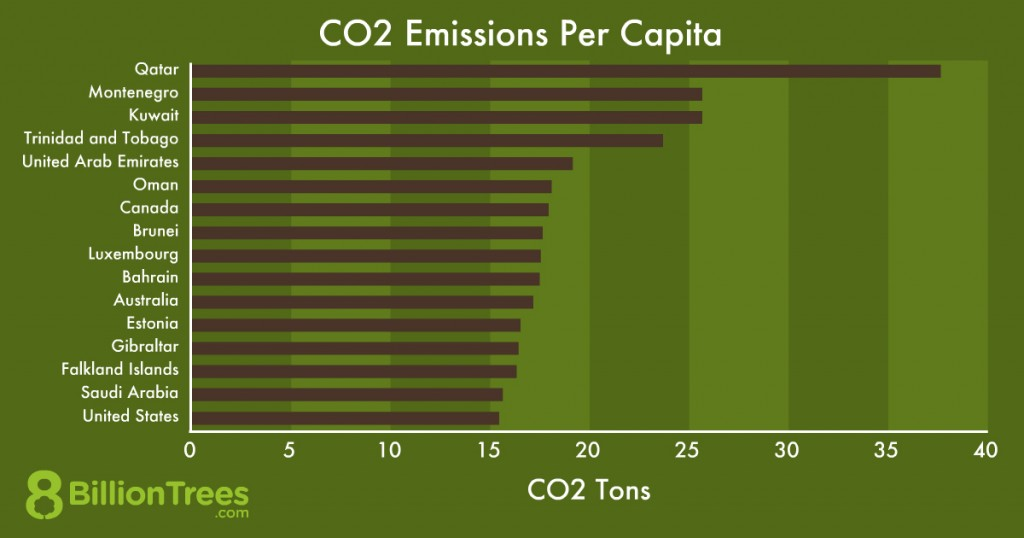Graphic image of a graph displaying the carbon emissions per capita per country with the countries on the y-axis and the carbon tons on the x-axis
