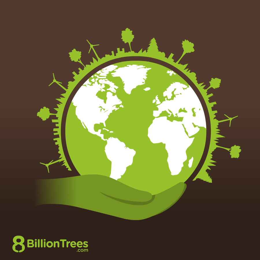 A hand holding earth with different types of carbon offsets (solar, forestry, and wind) on the surface of earth with buildings mixed in.