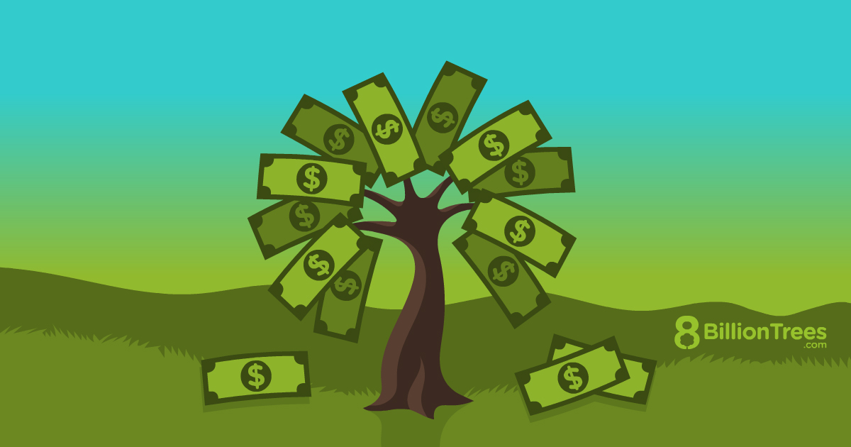A tree with the leaves in the shape of money