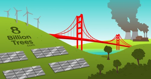8 Billion Trees graphic image of wind turbines and solar panels with a body of water in the middle separating two hills connected by a red bridge and a factory in the far right spilling fumes into the air