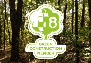 Graphic image of the Climate Plus Program badge accredited to green projects and eco-friendly construction offsets that reduce carbon footprint