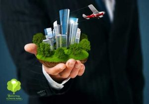 8 Billion Trees brand image of a man wearing a suit with a miniature city in the palm of his hand with the 8 Billion Trees climate fund logo at the bottom left