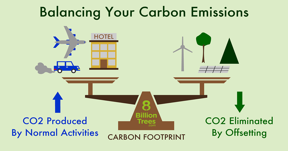 8 Billion Trees graphic image of scale with carbon producing activities on the left side with illustrated with images of a plane, car, and hotel followed by carbon eliminating activities(carbon offsets) on the right side with a wind turbine, solar panel, and trees