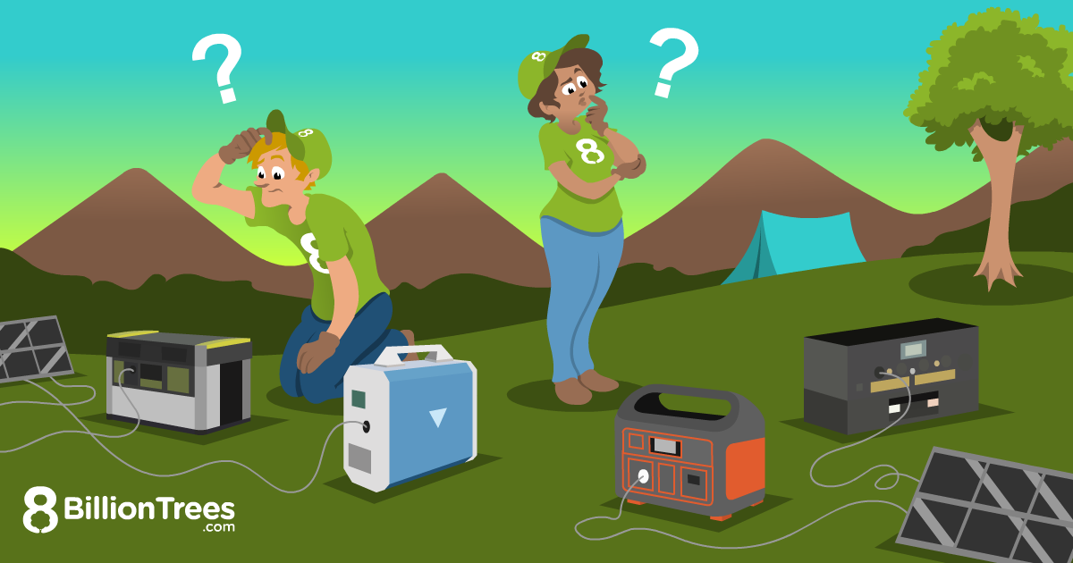 8 Billion Trees brand graphic image of 4 types of solar generators with two individuals with 8 Billion Trees green t-shirts on debating which generator to use at a camping area