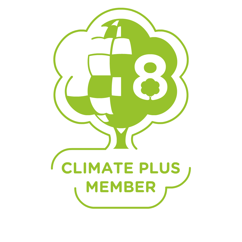 Green construction and climate plus membership badge.