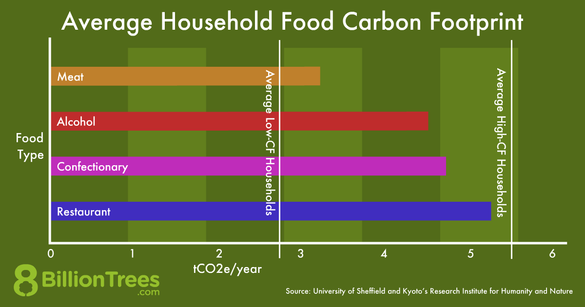 Chart graphic showing the average household's food carbon footprint.