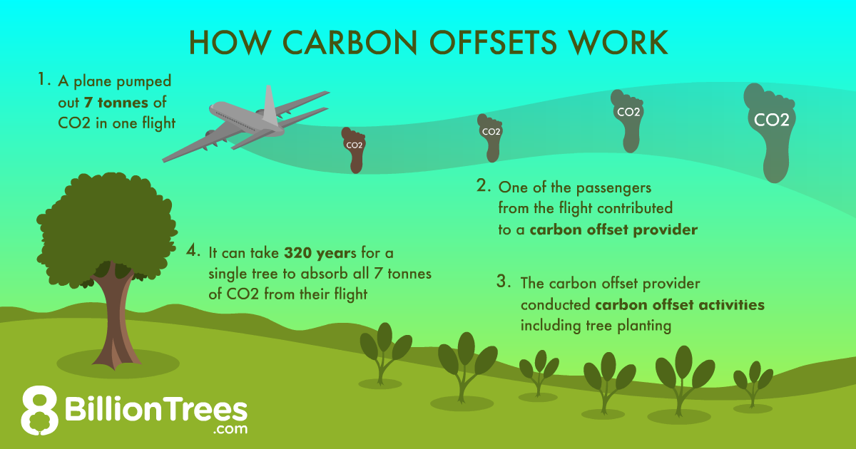 How carbon offsets for air travel work to reduce emissions graphic.