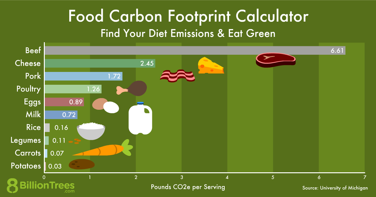 Graphic illustrating the food carbon footprint of various products such as meat and cheese.