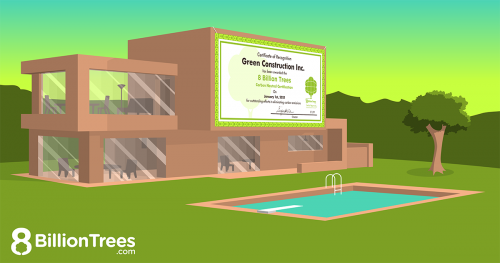 8 Billion Trees graphic image of a brown two story building with a banner hanging from the middle reading Green Construction Certification, for sustainable construction.