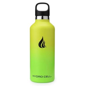 A green and yellow Hydro Cell reusable water bottle with a white background