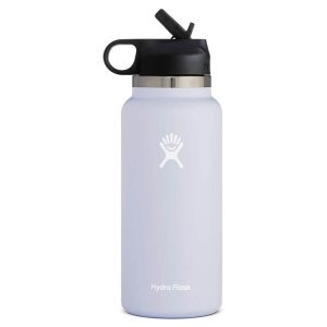 A light grey Hydro Flask reusable water bottle on a white background
