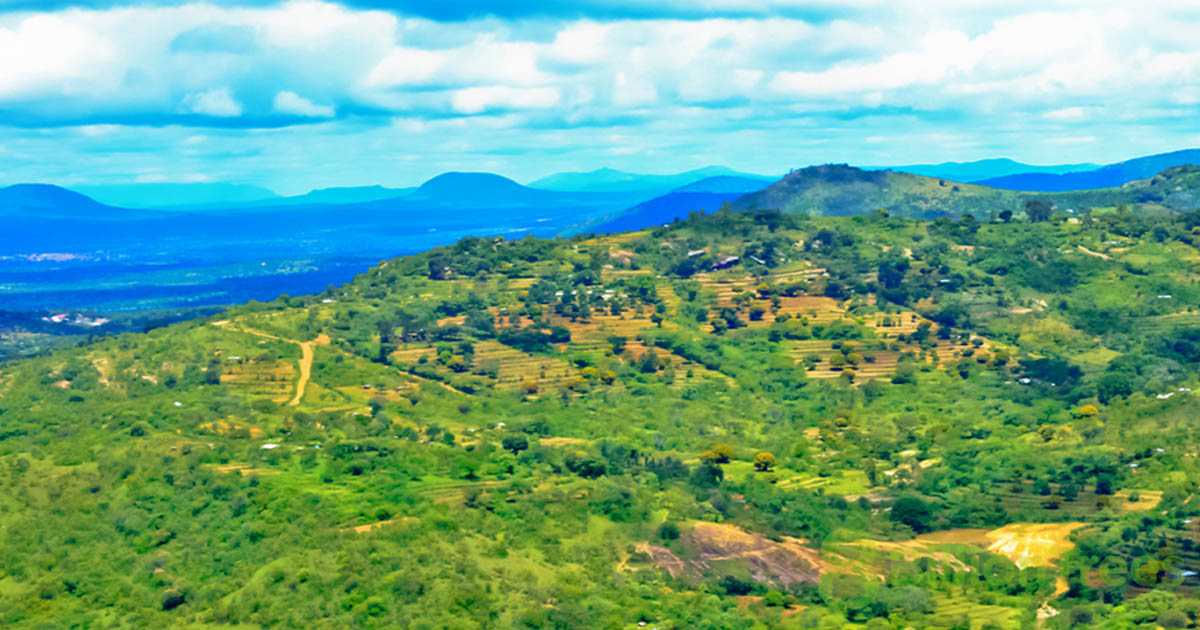 A Kenya planting site from above, with clouds overhead and rolling green hills, and an 8 Billion Trees watermark.