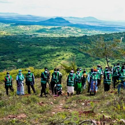 Team of volunteers plant trees in Kenya.