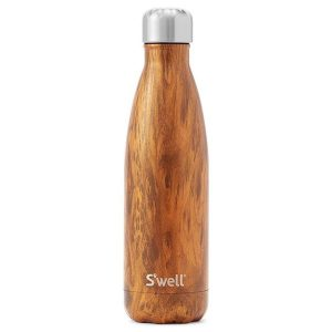 A wood grain designed S'well stainless steel water bottle on a white background