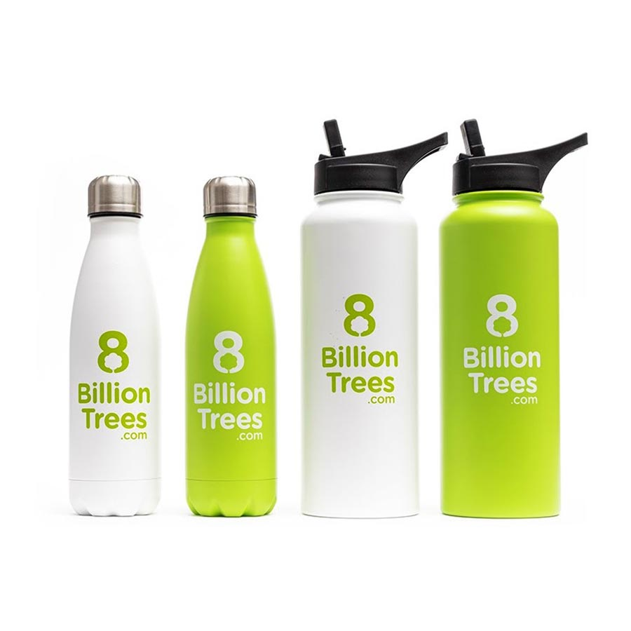Four green and white 8 Billion Trees metal water bottles, two small, and two with straw lids, on a white background.