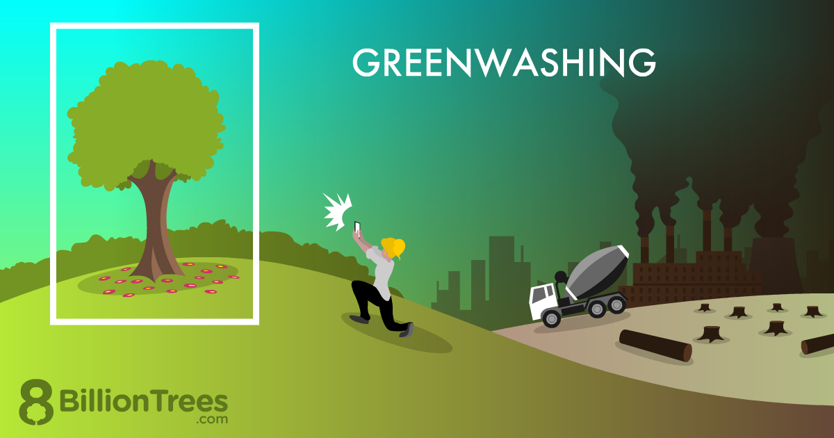 Greenwashing graphic depicting a man taking a cellphone picture of a tree on a hill, with polluting factories and logging in the background.