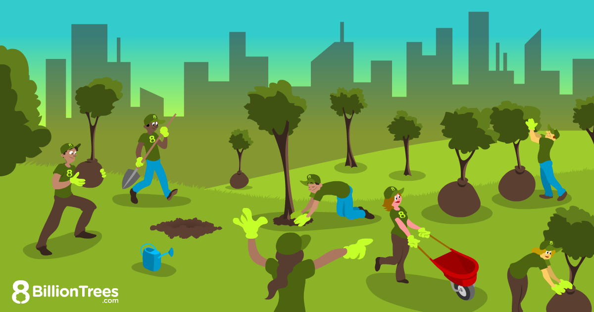 An 8 Billion Trees illustration showing people planting trees in front of a cityscape.