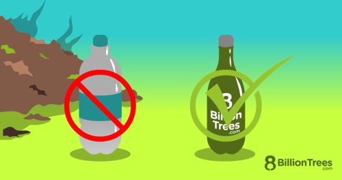 An 8 Billion Trees graphic illustration of a plastic water bottle with a red no symbol on it, next to an 8 Billion Trees resuable water container with a green checkmark on it.