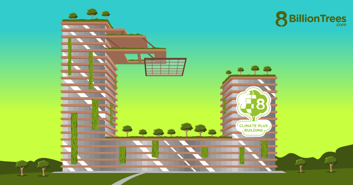 Green buildings, like this 8 Billion Trees graphic, are being built with trees and other living plants as part of the structure.