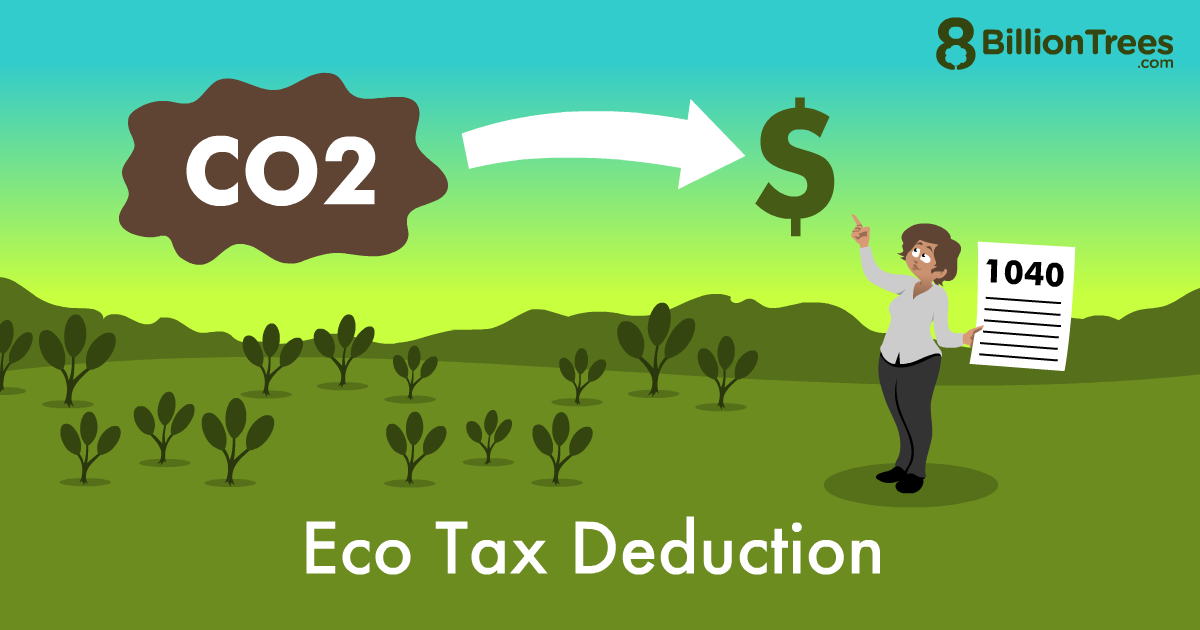 An 8 Billion Trees graphic of eco tax deduction, with an illustration of carbon dioxide and a person holding a 1040 form