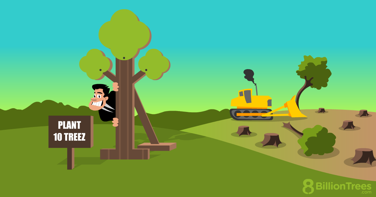 An 8 Billion Trees illustration of a man hiding behind a fake tree, trying to sell carbon offsets, while trees are being bulldozed behind him.