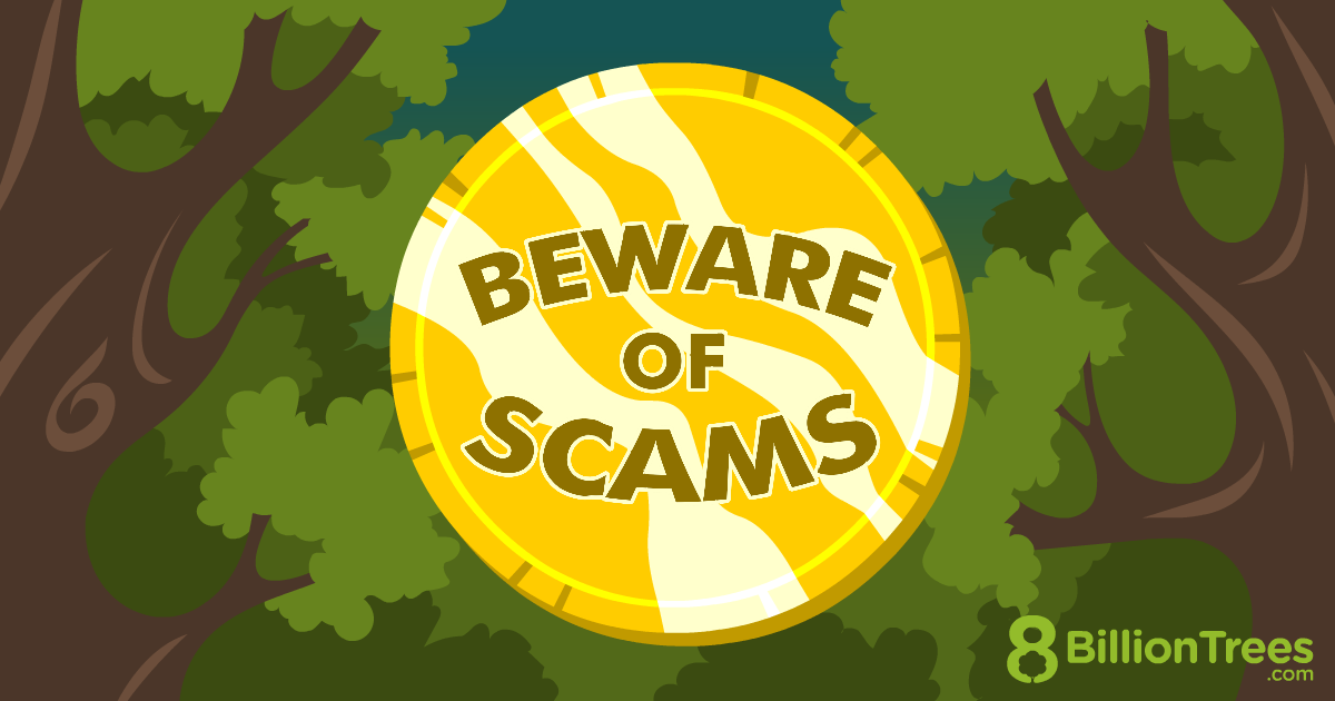 An 8 Billion Trees graphic with trees and a coin, telling viewers to beware of carbon offset scams.