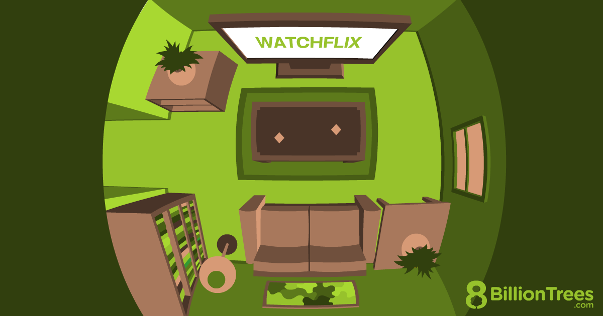 An 8 Billion Trees graphic for the Binge Watching Carbon Offset