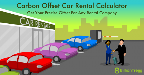 A 8 Billion Trees graphic of a car rental salesperson handing out a key to his client outside the car rental shop.