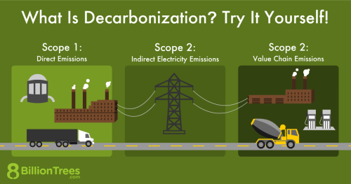 An 8 Billion Trees demonstrating the steps to Decarbonization.