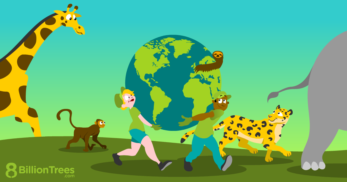 An 8 Billion Trees graphic showing environmentalists saving the planet and the animals.
