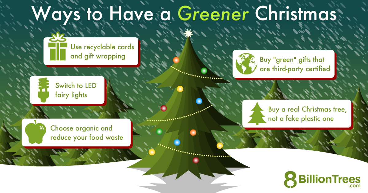 An 8 Billion Trees graphics showing ways of how to have a environmental friendly Christmas celebration.