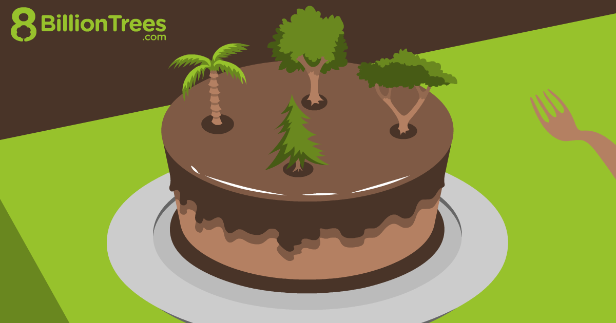 An 8 Billion Trees graphic of a chocolate cake with trees on it, for the Happy Birthday Carbon Offset.