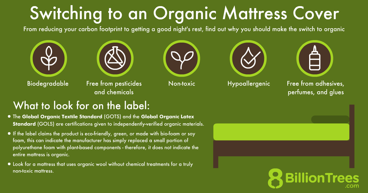 An 8 Billion Trees graphic of what to look for when switching to an organic mattress cover.