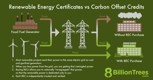 A 8 Billion Tree graphic showing the differences of Renewable Energy Credits and Carbon Offset Credits, with how a REC purchase works.