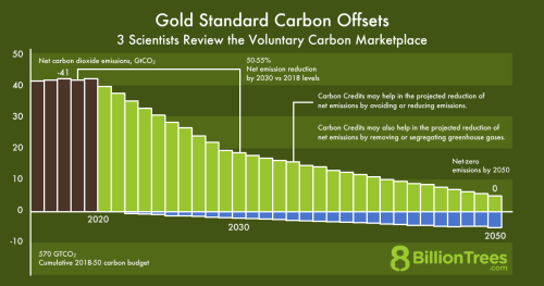 An 8 Billion Trees bar graph depicting how carbon credits in the voluntary carbon marketplace can reduce greenhouse gas emissions.