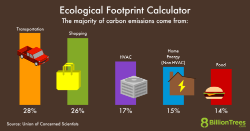 An 8 Billion Trees graphic showing where the majority of carbon dioxide emissions come from for a person, with transportation having the most at 28%, and food having the least, at 14%.