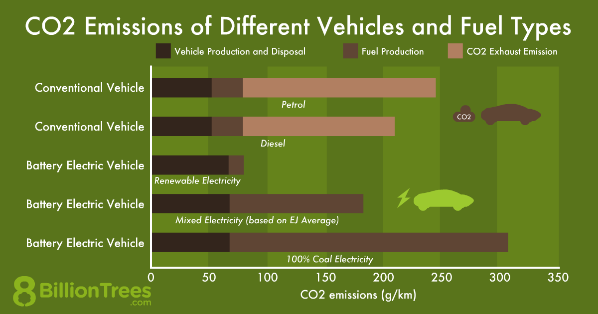 An 8 Billion Trees bar chart showing the CO2 emissions of different vehicles and fuel types, showing how an electric car that is charged on a 100% coal electric grid actually emits more Co2 than a car that uses petrol.