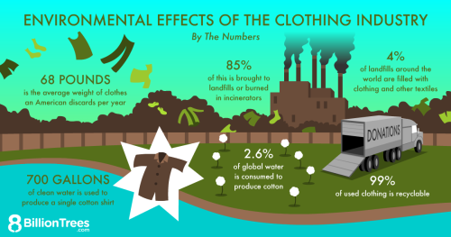 An 8 Billion Trees graphic illustrating the negative environmental effects of the clothing industry, including 85% of clothing ends up in landfills or burned in incinerators.