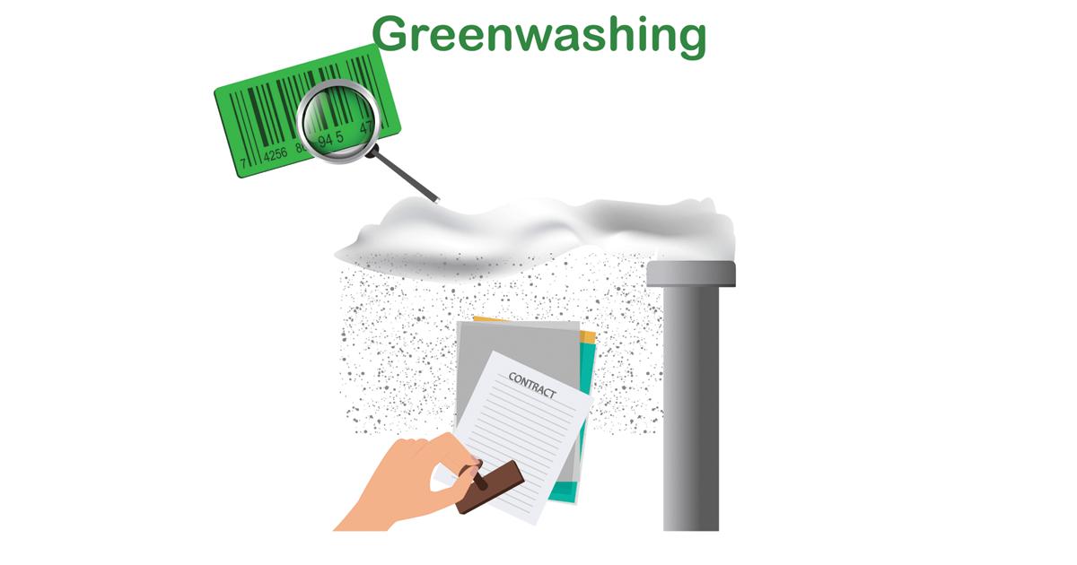 Greenwashing graphic showing factory smoke and memo pads.