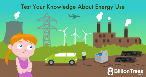 An 8 Billion Trees illustration of a redhead girl in front of examples of energy, including a factory and wind turbines, showing kid's knowledge of energy use.