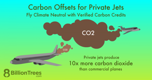 An 8 Billion Trees graphic showing how carbon offsets for private jets help a lot, since private jets produce 10x more carbon dioxide than commercial planes.