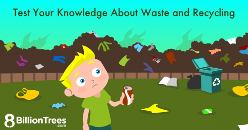 An 8 Billion Trees illustration of a blonde kid holding a soda can in front of a landfill, illustrating waste and recycling options.